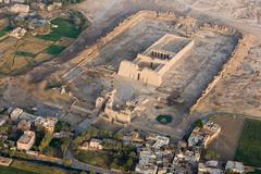 Medinet Habu Temple near Luxor from a hot air balloon, Thebes, UNESCO World Stock Photos