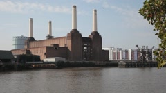 A Long Shot of Battersea Power Station in London Stock Footage