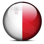 Map with Dot Pattern on flag button of Malta - stock illustration