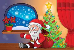 Stock Illustration of Santa Claus indoor scene 8