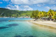 Town beach of Port Elizabeth, Admiralty Bay, Bequia, The Grenadines, St. Vincent Stock Photos