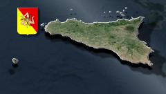 Sicily is a region in south of Italy whit Coat of arms - stock footage