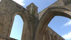 Ruins Abbey Glastonbury Stock Footage