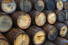 Casks (barrels), Port Askaig, Islay, Argyll and Bute, Scotland Stock Photos