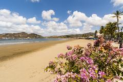 The half moon town beach at this popular tourist hub for the southern surf Stock Photos