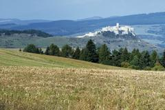 Rural countryside outside Levoca with Spis Castle, UNESCO World Heritage Site, Stock Photos