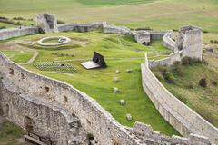 Lower courtyard with fortified wall below Spis Castle, UNESCO World Heritage Stock Photos