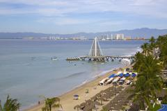 View of beach in Downtown, Puerto Vallarta, Jalisco, Mexico, North America - stock photo