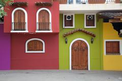 Colourful houses, Downtown, Puerto Vallarta, Jalisco, Mexico, North America - stock photo