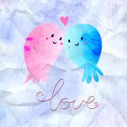 young lovers jellyfish - stock illustration
