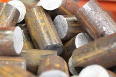 Round billet of metal raw materials for further processing - stock photo