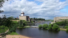 View of Narva and Ivangorod fortress Stock Footage