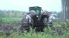 Forest machine at work Stock Footage