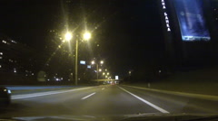 Night CAR Driving on HIghway  POV footage - stock footage