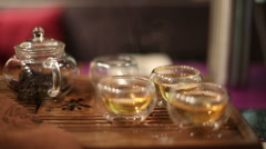 Tea ceremony in cafe Stock Footage