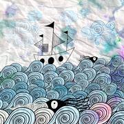 graphic ship at sea - stock illustration