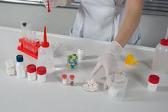 Science medical laboratory, chemistry experiment science at laboratory Stock Photos