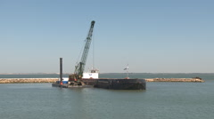 Port in construction dredging Stock Footage