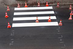 painting of pedestrian crossing - stock photo