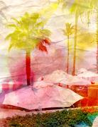 retro watercolor palm trees and umbrellas - stock illustration
