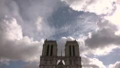 Famous Notre Dame Cathedral de Paris, tilt Full HD Stock Footage