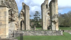 Ruins Abbey Glastonbury twin Towers Stock Footage
