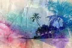watercolor palm trees and sea shore - stock illustration