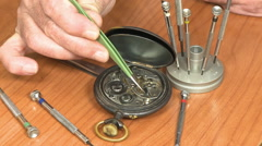Watchmaker repair pocket watch Arkistovideo