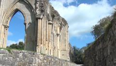 Ruins Abbey Glastonbury walk way Stock Footage