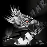 Iron eagle with a guitar in its claws Stock Illustration