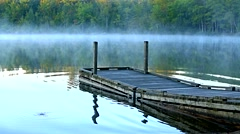 Boat ramp at Toddy Pond, Maine in the early morning light Stock Footage