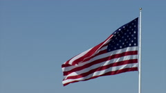 Giant American Flag Flies Left Stock Footage