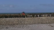 Stock Video Footage of Planting rows of Marram Grass or Helm between wind screens on a sand dune
