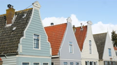Old Dutch facades of wooden houses Stock Footage