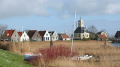 Picture-perfect Dutch village by the water Stock Footage