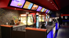 Snack bar in the cinema with people Stock Footage