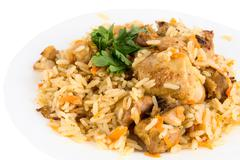 close-up of tasty pillau - stock photo