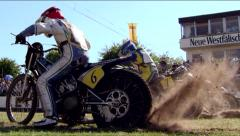 Slow Motion Race Track 300fps 11 Dirt kicking up - stock footage