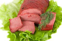 lettuce and beef meat - stock photo