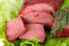 Close up of fresh lettuce and beef - stock photo