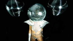 Disco woman sexy discoball glitterball party music Stock Footage