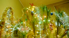 toys on the Christmas tree, needles, new year - stock footage