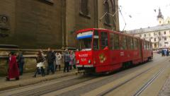 Old red tram, tram tracks, tram Stock Footage