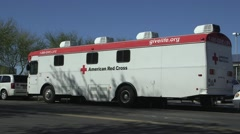 Blood donation bus, blood transfusion - stock footage