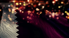 Qatar Flag Light Night Bokeh Abstract Loop Animation 4K Stock Footage