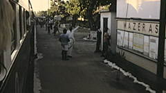 Kenya 1981: train arriving at the station Stock Footage