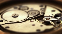 Functioning, Spring-Powered Clockwork Mechanism with Moving Parts Stock Footage