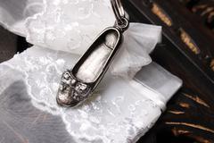 Silver Flat Shoe - stock photo