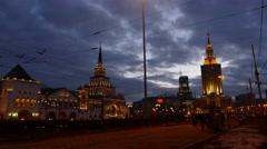 Kazansky train terminal and Hilton-Leningradskaya hotel. Time lapse Stock Footage