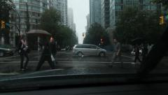 Bute and Alberni intersection on a rainy day in downtown Vancouver, BC. Stock Footage